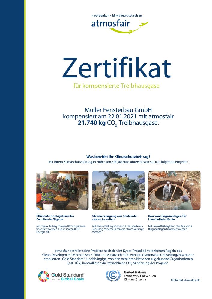 Atmosfair Zertifikat AX1000482585 1 1